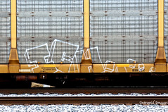 ICH (INTREPID IMAGES) Tags: street railroad streetart color art train bench circle t graffiti fan fry paint steel painted graf tracks rail railway trains tags images 63 yme railcar intrepid writer boxcar graff ich freight rolling ichabod itd sfl gr8 paintedtrains benching railer intrepidimages