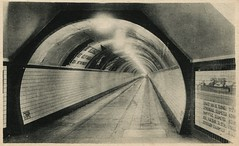 Antwerp, Tunnel For Pedestrians (SwellMap) Tags: auto road car train vintage subway advertising design pc 60s highway triangle automobile fifties dam postcard perspective style rail tunnel retro machinery nostalgia chrome repetition americana 50s unusual roadside tunnels sixties 30s coldwar 40s roadway midcentury atomicage