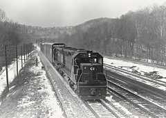 The view from the tower at Conpitt Junction, near Johnstown, PA. 1976 (Ivan S. Abrams) Tags: blackandwhite newcastle pittsburgh butler bo ge prr ble conrail alco milw emd ple 2102 chessiesystem westmorelandcounty 4070 bessemerandlakeerie steamtours pittsburghandlakeerie ivansabrams eidenau steamlocomtives ustrainsfromthe1960sand1970s