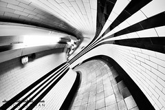 Camber (Aaron Yeoman [Old Account]) Tags: lighting city uk greatbritain travel light england urban blackandwhite bw reflection london lines station sign architecture reflections underground subway tile lights blackwhite europe quiet arch bend metro unitedkingdom empty sony curves tube perspective highcontrast railway tunnel gritty line fisheye tiles gb tubestation londonunderground subwaystation curve thetube metrostation northernline a77 tfl lul theunderground undergroundstation rapidtransit hampsteadundergroundstation fluorescentlamp metropolitanrailway fluorescentlamps hampsteadtubestation sonya77 slta77 sonyalphaslta77 samyang8mmf35mcfisheye