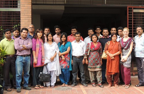Aquatic Agricultural Systems (AAS) program team in front of Khulna hub office, Bangladesh. Photo by WorldFish, 2012.