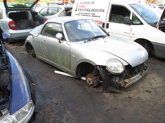 daihatsu copen. (RUSTDREAMER.) Tags: cornwall scrapyard wreck scrap coupe 191 orchards daihatsu copen rustdreamer