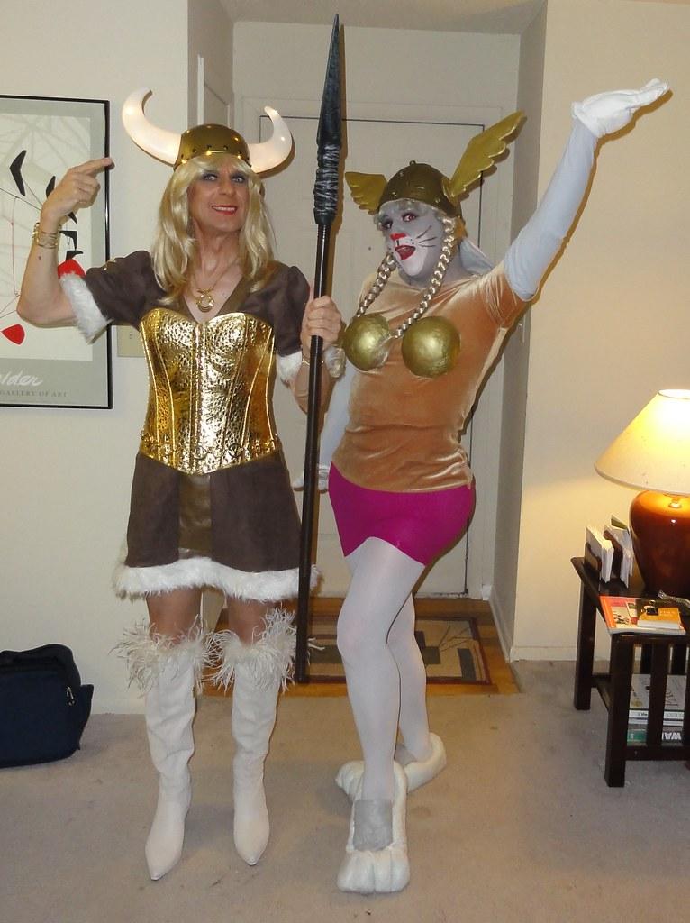 female elmer and bugs rgaines tags halloween drag costume cosplay magic helmet cartoon