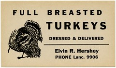 Full-Breasted Turkeys Dressed and Delivered (Alan Mays) Tags: ephemera advertisingcards advertising advertisements ads paper printed thanksgiving holidays turkeys bird animals poultry food fullbreasted turkeybreasts breasts dressed delivered borders illustrations hershey elvinrhershey lancaster pa lancastercounty pennsylvania old vintage typefaces type typography fonts