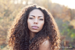 Untitled (Explored) (ClaudiaJR) Tags: autumn woman beautiful race forest golden mixed eyes sundown curls piercing hour portraiture potrait