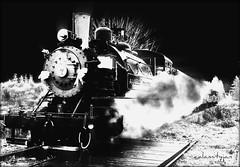 from out of the past.... (calamityjan2008) Tags: railroad blackandwhite bw train vancouverisland portalberni steamtrain santatrain number7 oldloggingtrain fromoutofhtepast portalbernitrain