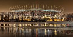 Warsaw - The National Stadium (Marcin Bambit) Tags: city trees light architecture modern night canon landscape stadium sigma poland polska warsaw stadion hdr warszawa wisa miasto architektura mazowsze rzeka krajobraz nocne nowoczesna eos60d