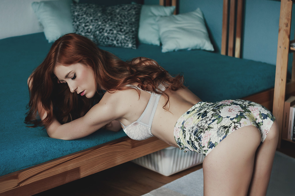 Redhead in the bed