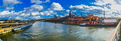 Liège: Steel Works 2 (Falcdragon) Tags: city panorama mill industry industrial factory cityscape steel sony works complex barge a7 fac liège lightroom hugin rivercraft emount ilce7