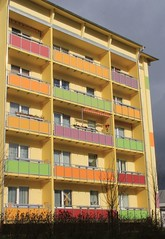 Little boxes (:Linda:) Tags: house germany town colorful balcony plattenbau thuringia restored reconstructed hildburghausen eastgermanrelic