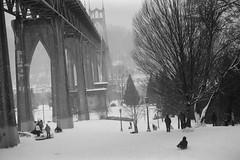 Cathedral Park (Katt Janson Merilo) Tags: blackandwhite 35mm stjohns canonae1 tmax100 stjohnsbridge cathedralpark snowpocalypse stjohnsportland portlandsnow