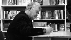 Ken MacLeod, launch for Descent 04 (byronv2) Tags: blackandwhite bw monochrome scotland blackwhite edinburgh descent books bookstore writer sciencefiction bookshop author oldtown signing kenmacleod southbridge blackwells edimbourg orbitbooks