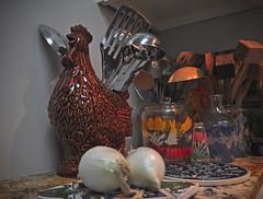 Kitchen Chicken (BKHagar *Kim*) Tags: red chicken utensils cooking kitchen counter onions stove bkhagar
