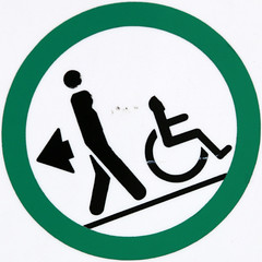 Pull wheelchairs down slope (Leo Reynolds) Tags: xleol30x squaredcircle signsafety signcircle sqset106 wheelchair signno xxx2014xxx peril sign