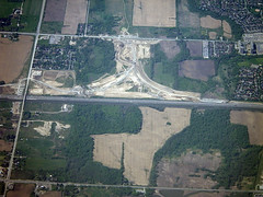 401-407 Connector Interchange (Stephen Gardiner) Tags: ontario pentax aerialview optio windowseat 2014 porterairlines w90 optiow90