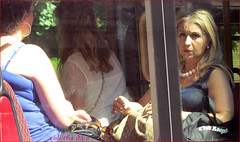 `1399 (roll the dice) Tags: uk travel england people urban sun hot reflection bus sexy london art classic glass girl weather fashion shopping women funny pretty chelsea sad natural transport streetphotography passengers blonde unknown mad unaware sw1 londonist kensingtonchelsea sw3