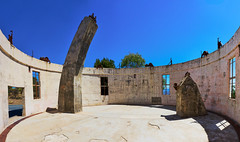 Open Air Observatory (RobMacPhotography) Tags: canberra act australia observatory stromlo telescope dome ruined pillar concrete round circular remains window frames door floor open air blue sky destroyed bushfires 2003 sony a6000 panoramic building rob mac photography