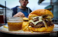 Shiitake & Cremini, Swiss Cheese, Onion, Horseradish Cream Burger Au Jus - Table 9 (sheryip) Tags: table 9 morgantown wv food foodporn burger swiss au jus onion horseradish sometimessavory