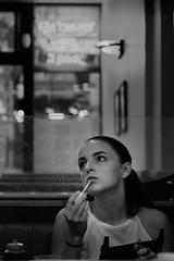 Diner day dreaming (marregurra2012) Tags: newyork diner breakfast street girl gaze dreaming monochrome blakandwhite