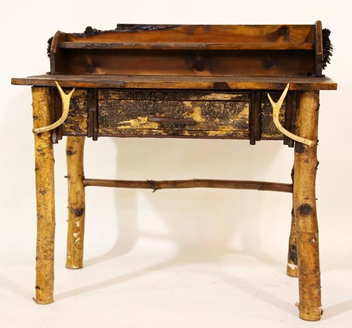 Adirondack Desk/Table with Bark and Antlers ($392.00)