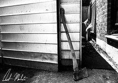 Axe to Grind (Demetrios Manolatos) Tags: nyc newyorkcity blackandwhite white newyork black blackwhite killer axe murder shack grime serial