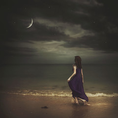 Siren of the Sea (Shelby Robinson) Tags: ocean sea sky moon beach girl night canon stars waves purple mark spell ii 5d siren