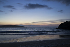 Harlyn Bay (DavidMcCourt) Tags: county uk blue sunset sea england sky white colour beach beautiful rock night bay coast seaside sand nikon cornwall waves cliffs harlyn harlynbay d3100 nikond3100