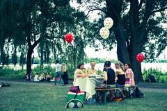 picnic (fabricio klug) Tags: park trees red lake green colors grass germany bench table women picnic hamburg alter baloons