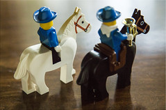 Move Along Now... (Jill Clardy) Tags: blue wild horses west cowboy uniform lego mini riding 100views soldiers rider figures bugle day217 day217365 3652013 365the2013edition 05aug13 4b4a0655