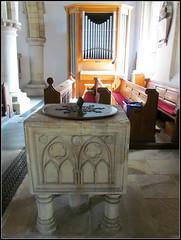 Bibury - St Mary's Church (pefkosmad) Tags: uk england church cotswolds gloucestershire baptism font christening stmaryschurch bibury