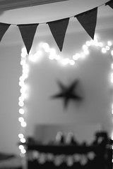 (Ali Seglins) Tags: thanksgiving decorations party blackandwhite bw digital point lights star triangle fireplace details flags doorway hanging halifax fairylights mantel adobephotoshopelements canont4i aliseglins