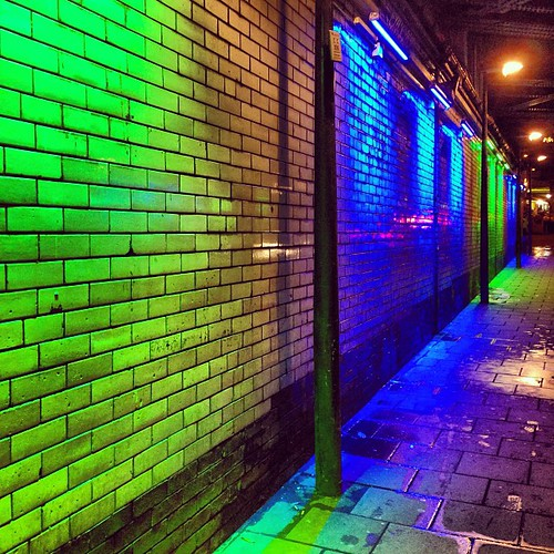 Who will I meet on the #dark streets? #green #road #blue #bright #wall #aphotoangel #reflective #lamp #tiles #bridge