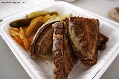 Grilled Cheese at Mom's Grilled Cheese (deeeelish) Tags: sandwich fries pickle grilledcheese