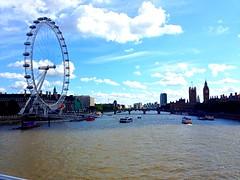 London eye; big ben (MaykoLorena) Tags: city uk blue england sky london clouds londoneye bigben iphone tamesis thelondoneye iphone5 uploaded:by=flickrmobile flickriosapp:filter=nofilter