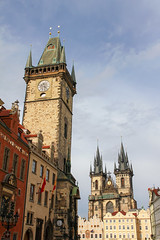 Prague -  Old Town City Hal 2 (Romeodesign) Tags: old tower church town czech prague medieval romanesque bohemia 550d squaretown churchofourladybeforetn halalendarrepubliccity halloldclock