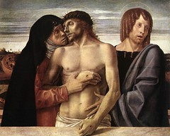 Dead Christ Supported by the Madonna and St John (Pietà), Giovanni Bellini, 1460, Tempera on panel, 86 x 107 cm, Pinacoteca di Brera, Milan, Italy.