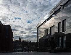 reflection in stone (jonstr) Tags: morning sky reflection architecture morninglight universitetetioslo universityofoslo myoslo fujifilmx100s