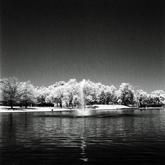 Lincoln Park fountain (aaronvandorn) Tags: park blackandwhite mediumformat jerseycity 200iso infrared noise blackwater ilfordsfx lincolnpark darksky rokkor minoltaautocord rokkor75mmf35 whitefoliage 720nmirfilter
