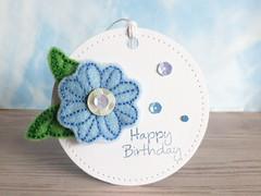 Felt Flower Gift Tag (Heather Maria D) Tags: felt stitching sequins heroarts gifttag handstitching spellbinders birthdaymessages dc147 butterflyandflowersstampcuts piercedcircles scd009
