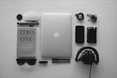 Still Life with Zero to One Book and iPad (Image Catalog) Tags: stilllife apple sunglasses keys book keyring whitebackground headphones pens publicdomain ipad usbcord peterthiel zerotoone