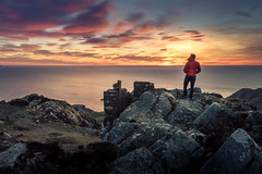 The Best Spot (garethleethomas) Tags: sunset sky clouds evening uk greatbritain seascape view epic rocks wales man people canon lastlight outdoor coast sea