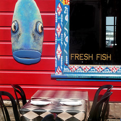 take your chances (msdonnalee) Tags: restaurant fishrestaurant tableandchair window facade sign facciate fachada