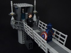 Helicarrier Showdown (MrKjito) Tags: lego minifig super hero marvel comics comic cinematic universe winter solider bucky captain america steve rodgers barns helicarrier showdown shield