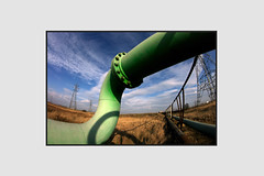 pipe dream (shrimperdan) Tags: photography photo photoshop pentax pipe green teesside northeast twist curve pylons
