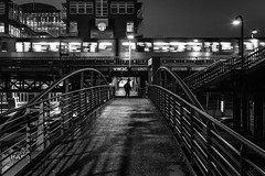 Missing my train / the path before me (Özgür Gürgey) Tags: 2017 35mm bw baumwall d750 darkcity hamburg nikon samyang architecture blur bridge evening grainy lowlight motion street subway underpass germany