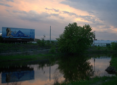 (GXM.) Tags: sunset reflection nature river corporate billboard commercial pepsi lacrosse polkadot sofiavergara