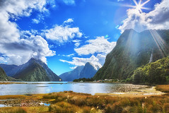Milford Sound, New Zealand (Kenneth Pfeifer Photography) Tags: travel newzealand nature water clouds panoramic milfordsound hdr