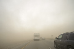 dust storm (rappensuncle) Tags: brown storm bus cars slow desert wind low fast mojave strong dust visibility rappensuncle