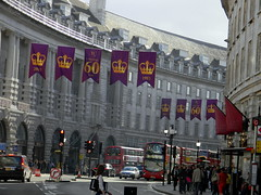 Celebrating queens 60 years coronation banners purple gold Regent Street London England 15th June 2013 15-06-2013 17-29-46 (dennoir) Tags: