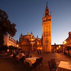 Sevilla Cathedral (david.bank (www.david-bank.com)) Tags: architecture canon square twilight sevilla spain stitch cathedral dusk shift seville bluehour andalusia tilt tse 17mm davidbank